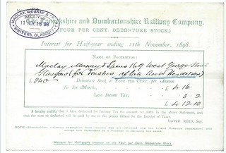 Lanarkshire and Dumbartonshire Railway dividend warrant 1898 | by ian.dinmore