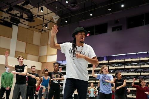 Jon Boogz Teaching Popping Exercises to Kaufman Majors