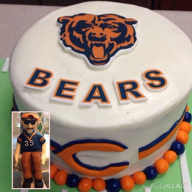 Tremendous Chicago Bears Cake And Superfan He Was A Little Too H Flickr Funny Birthday Cards Online Fluifree Goldxyz