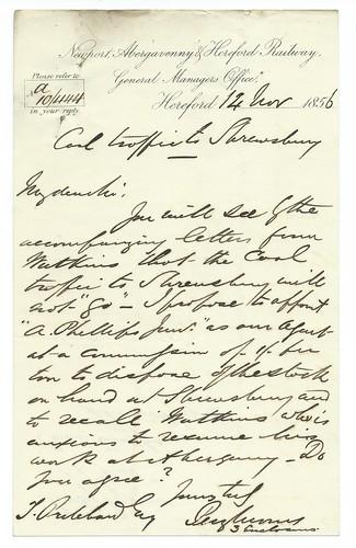 Newport, Abergavenny & Hereford Railway letterhead 1856   by ian.dinmore