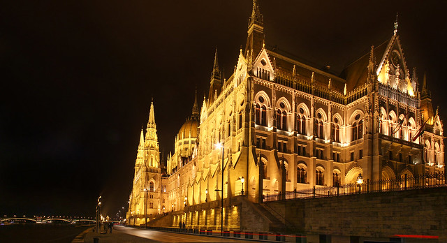 Budapest - hungarian Parliament night panorama from the Pest wharf