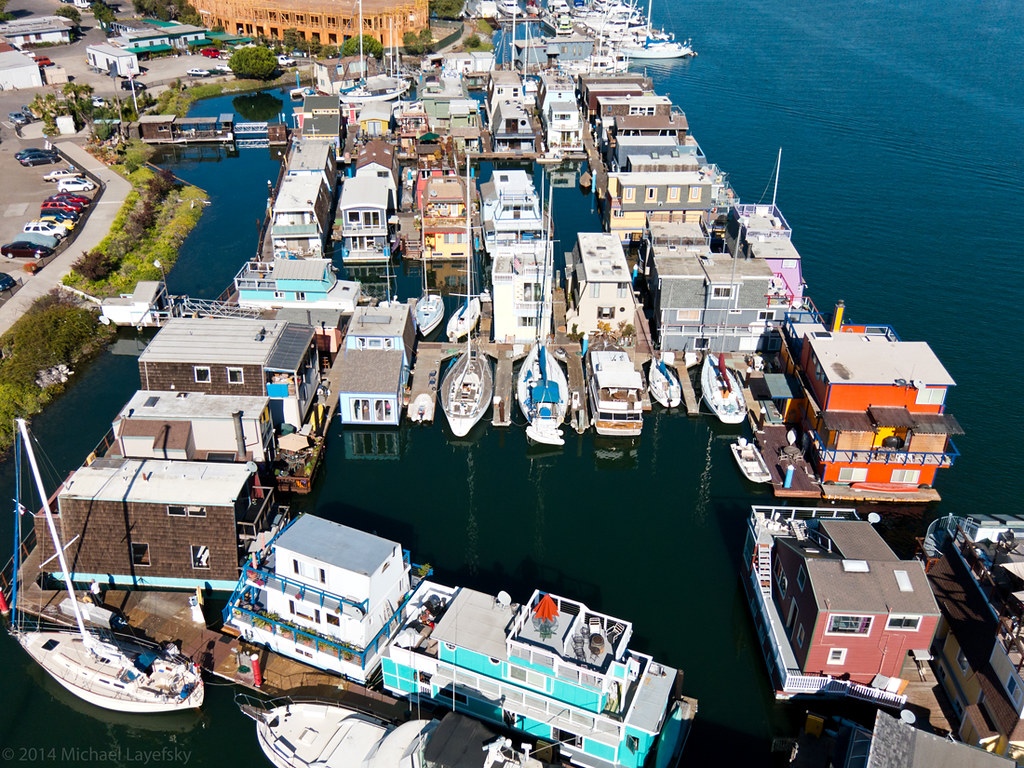 Houseboat community, Alameda, California | Aerial view of th… | Flickr