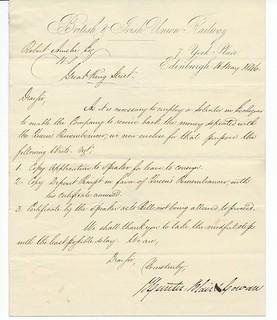 British & Irish Union Railway letterhead 1846 | by ian.dinmore