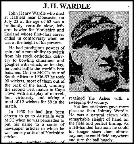 23rd July 1985 - Death of Johnny Wardle | by Bradford Timeline