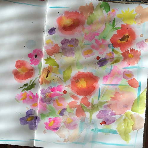 morning sun on the pages left open to dry last night #watercolor | by pam garrison