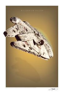 Millennium Falcon Art Print Poster | by Bryan K Ward