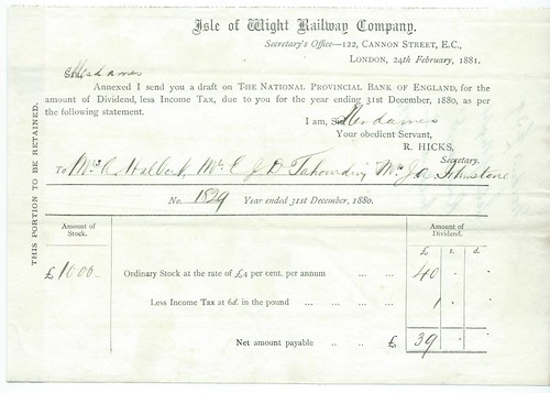 Isle of Wight Railway dividend warrent 1881 | by ian.dinmore