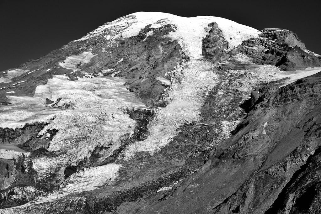 Glaciers and Snowfields Draped Across the Mountainside (Black & White, Mount Rainier National Park)