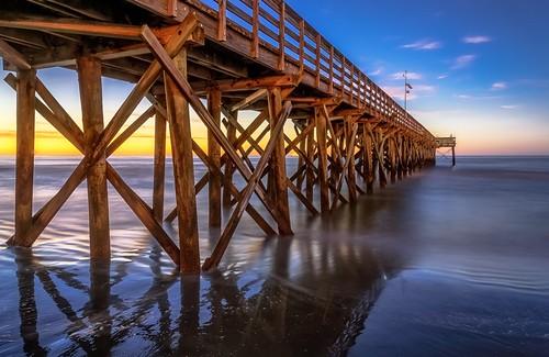 longexposure sunrise pier nikon october mountpleasant southcarolina warmth bluesky charleston atlanticocean isleofpalms vividcolor d610 curtiscabana