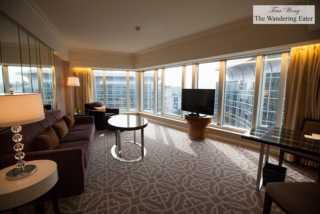 Inside the living area of the Diplomat Suite