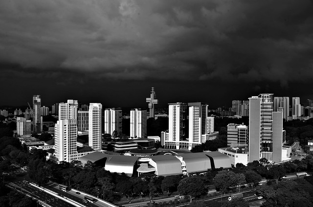 An afternoon thunderstorm approaching Western Singapore