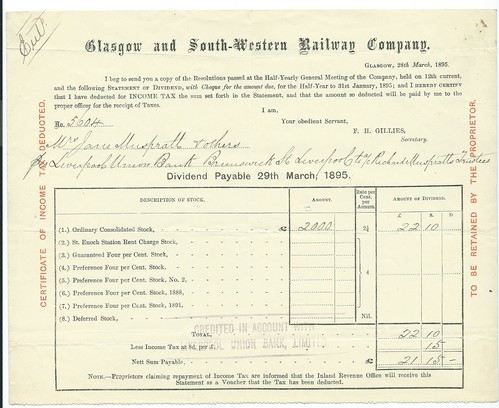 Glasgow ans South Western Railway dividend warrant 1895 | by ian.dinmore