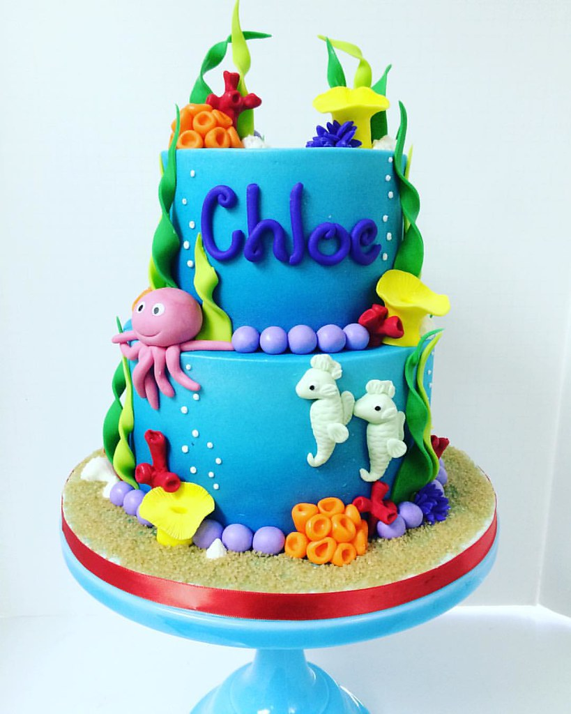 Amazing Bright And Colorful Under The Sea Themed Birthday Cake Wit Flickr Funny Birthday Cards Online Eattedamsfinfo