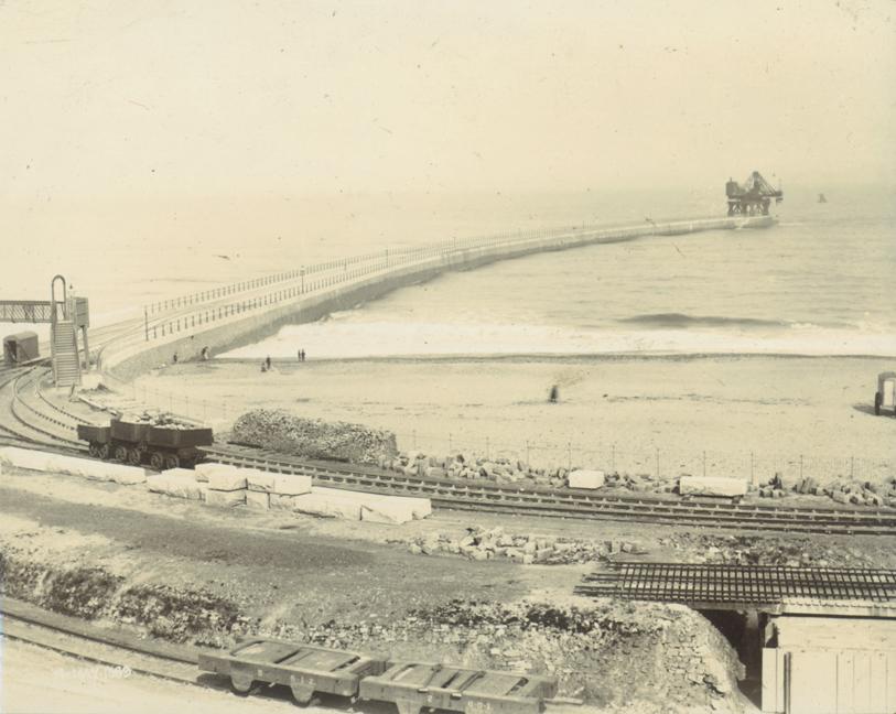 Progress at Roker Pier, 1889