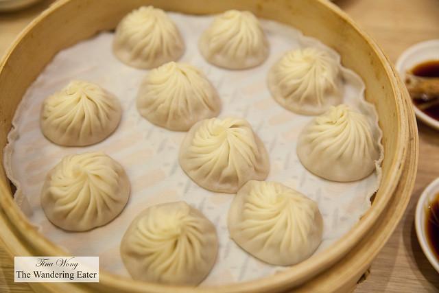 Pork soup dumplings (or xiao long bao)