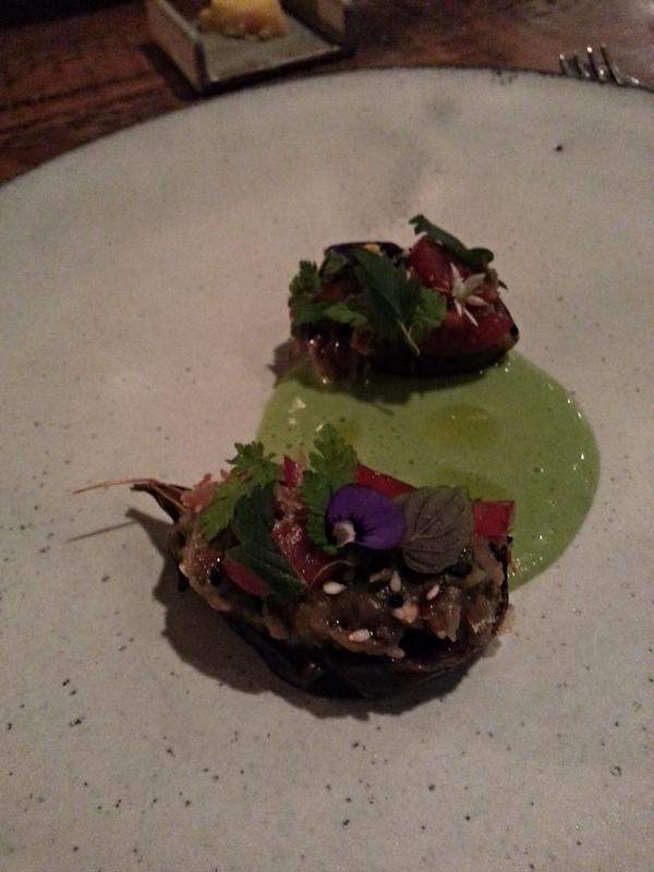 The Clove Club - baby aubergine, green tomato and air dried tuna