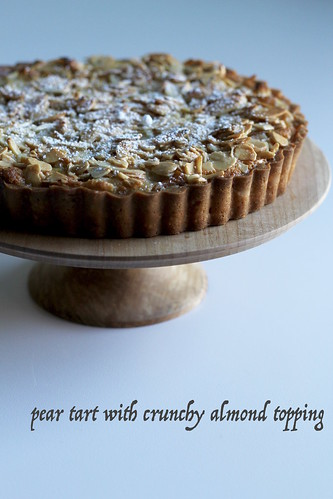 pear tart with crunchy almond topping | by awhiskandaspoon