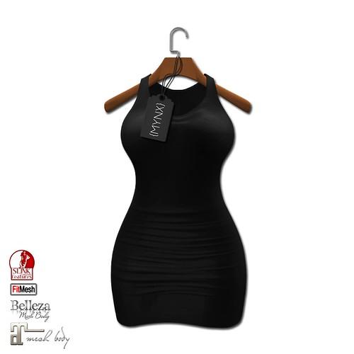{MYNX} Fitted Dress - Black (Maitreya/Slink/Belleza/FitMesh)