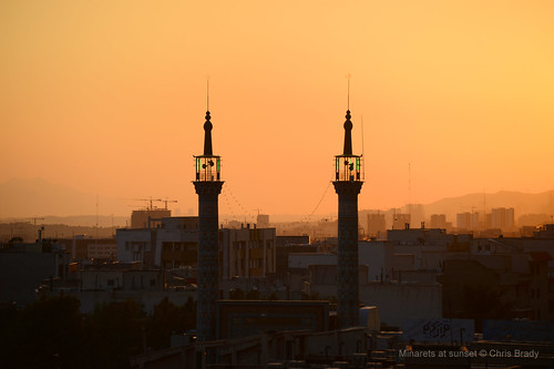 sunset shrine minaret jafar mosque holy tehran seyed hamideh khatoon