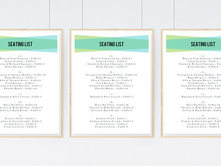 Blue Green Geometric Seating List Template