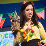 Clare Foges' Kitchen Disco | Clare Foges introduces a new pal to the Kitchen Disco in her Book Festival event © Alan McCredie
