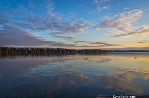 blue autumn trees sunset reflection fall water yellow clouds islands evening colorful purple dusk iowa mississippiriver muscatine 2015 kevinpalmer tamron1750mmf28 september27th pentaxk5 shadycreekrecreationarea