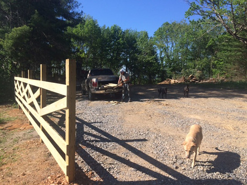 Matt decides to build a crossbuck fence at the entrance