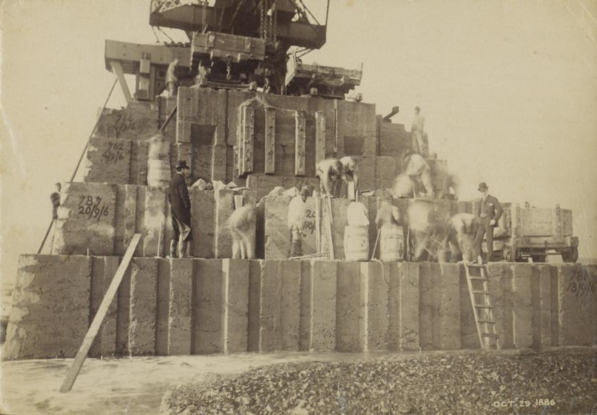 Workers constructing Roker Pier, 1886