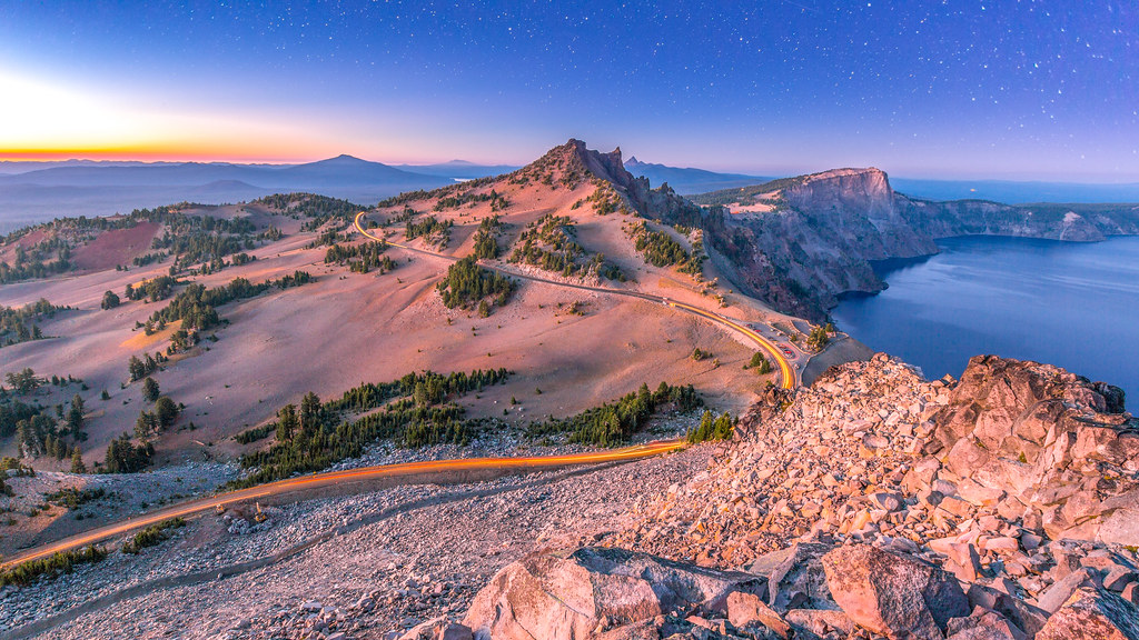 Stars over Sunset At Crater Lake