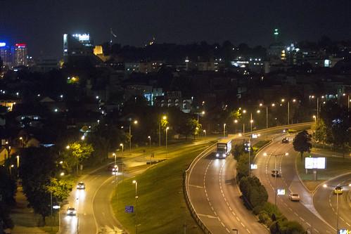 road vacation holiday night evening traffic motorway macedonia mk balkan skopje 2015