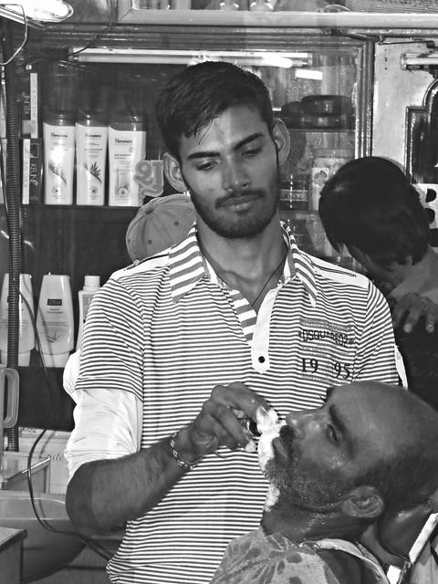 at the barber, bikaner
