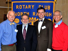 L-R: Rich Adelman, Scott Davis, club President Chris Morden and Gene Hirsch. With the aid of a translator Scott has translated from Yiddish to English several works from Jacob Dinezon.