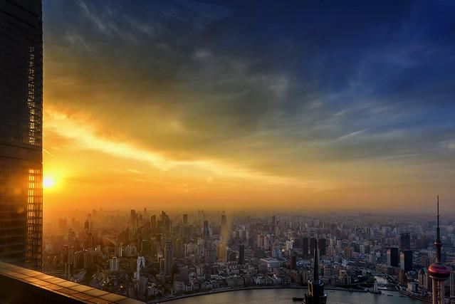 Puesta de sol desde Pudong