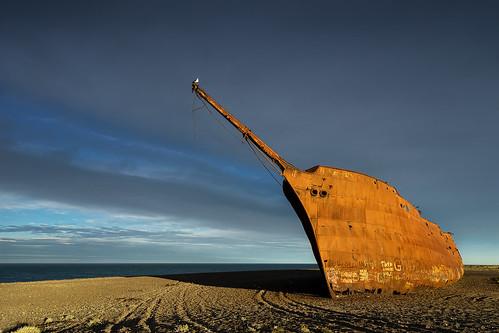 shipwreck wreck ship rust patagonia sunset marjoryglen argentina riogallegos