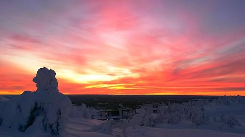sunset snow finland kuusamo ruka rukatunturi samsunggalaxys4active mestapaikka