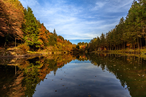 outdoor water landscape serene moutainside fall reflection orange blue sky clouds trees canon eos 80d nature lake scenic wood season leaf