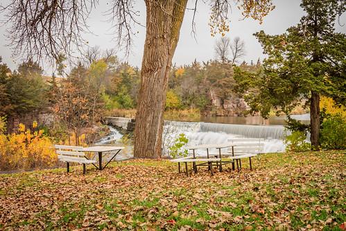 outdoor landscape autumn water tree waterfall park