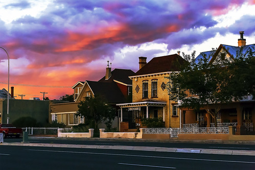 street sunset sky house newmexico southwest building architecture clouds colorful broadway albuquerque nm grantcondit
