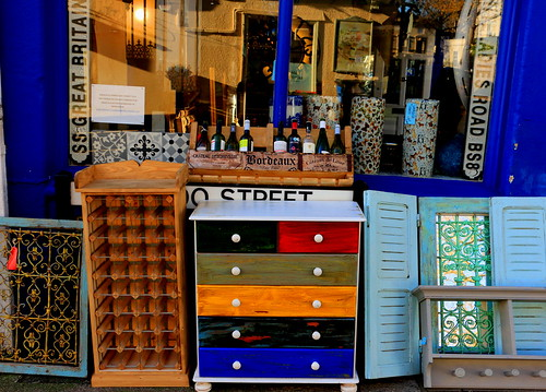 colour color clifton bristol drawers colourful antiques brica brac curios curiosityshop blue shop shopfrontage windows reflections