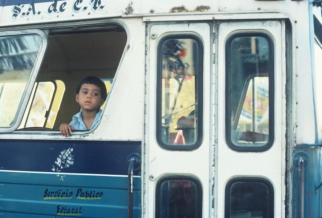 Mexican kid in bus: Baja California, Mexico 1987