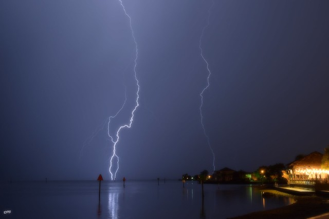 Lightning in soft focus