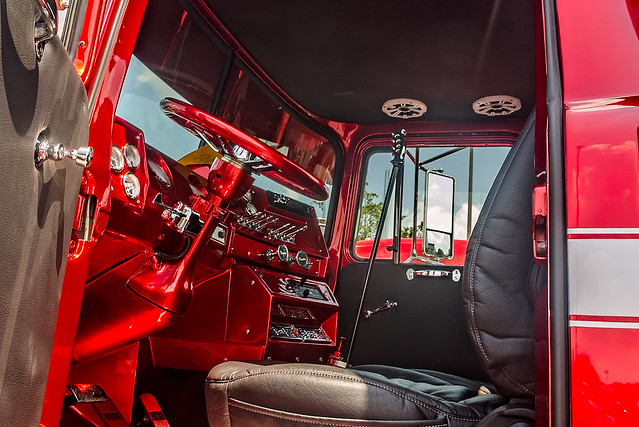 1991 Mack RD686 interior at the 34th annual Shell Rotella SuperRigs truck beauty contest in Joplin Missouri