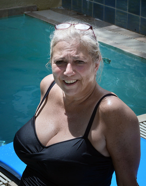 Michele at the pool.