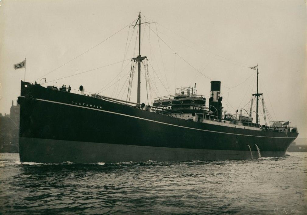 The cargo ship 'Queenmoor' heading on sea trials