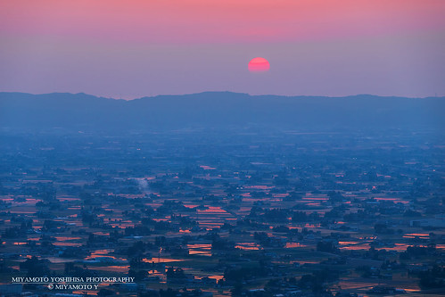 sunset reflection japan toyama ricefield tonami 2015 田園 富山県 sankyoson 砺波市 散居村 南砺市