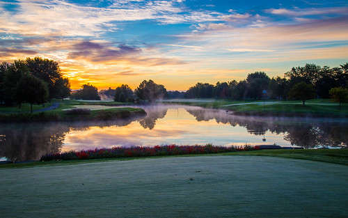 morning sky mist reflection water grass clouds sunrise frost lawn golfcourse canonef24105mmf4lisusm 16x10 canoneos6d autumn2015 arboretumclub
