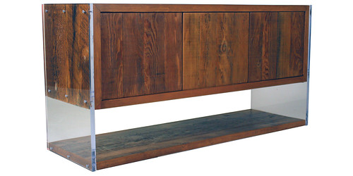 Lucite and reclaimed wood console | by urbanwoods123