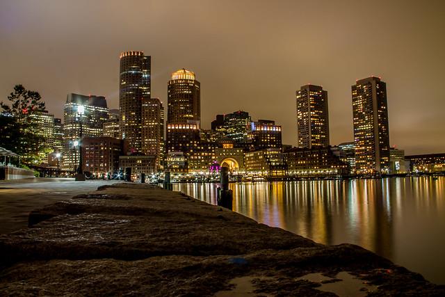 Skyline Boston at night