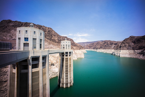 "Image titled ""Water line, Hoover Dam."""