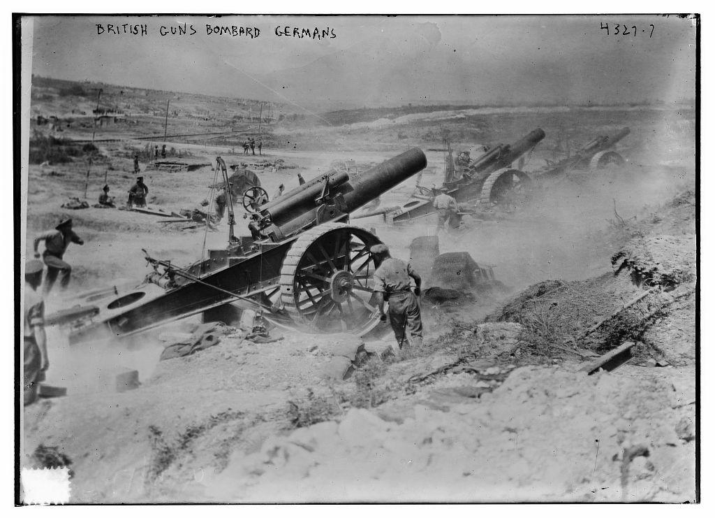 British guns bombard Germans (LOC)